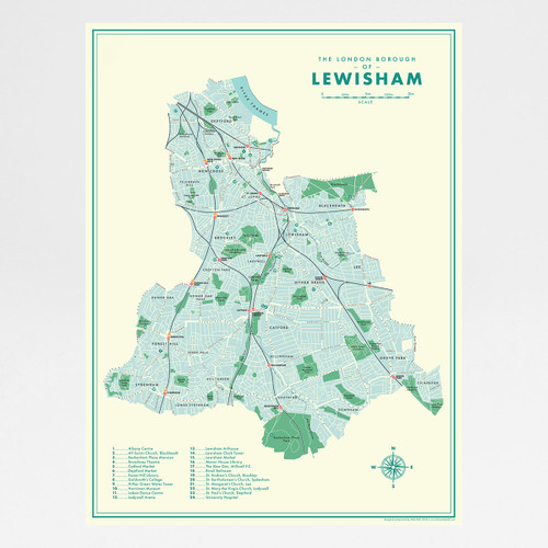 Lewisham Retro Map Print by Mike Hall at Of Cabbages and Kings.