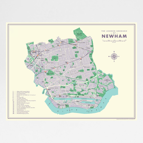 Newham Retro Map Print by Mike Hall at Of Cabbages and Kings.
