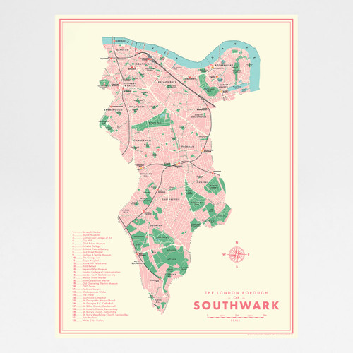 Southwark Retro Map Print by Mike Hall at Of Cabbages and Kings.