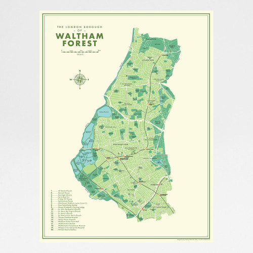 Waltham Forest Retro Map Print by Mike Hall at Of Cabbages and Kings.