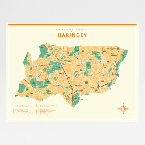Haringey Retro Map Print by Mike Hall at Of Cabbages and Kings.