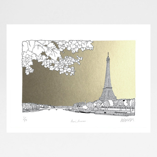 Paris, France - Silver + Gold screen print by Will Clarke at Of Cabbage and Kings