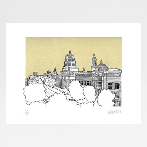 Victoria and Albert Museum - Gold screen print by Will Clarke at Of Cabbage and Kings