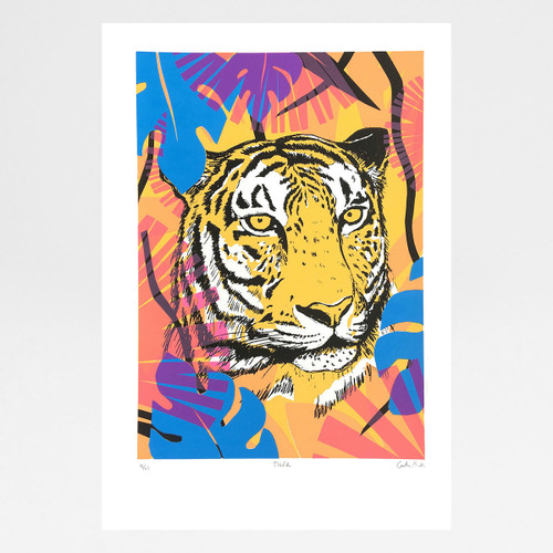 Tiger screen print by Caitlin Parks at Of Cabbages and Kings