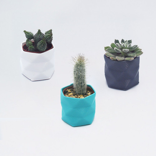 Small 3D Printed Geometric Planter set of 3 by Studio Nilli at Of Cabbages and Kings