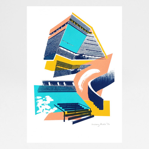 Tate Modern Blavatnik Building screen print by Underway Studio at Of Cabbages and Kings