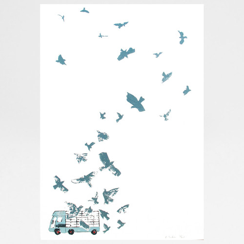 Flying Pigeons  screen print by Factory Press at Of Cabbages and Kings