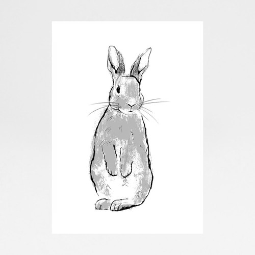 Wyatt Rabbit screen print by Tiff Howick at Of Cabbages and Kings