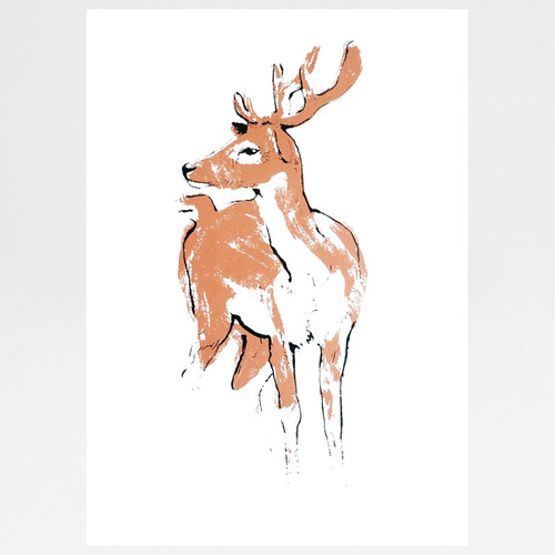 Copper Deer screen print by Tiff Howick at Of Cabbages and Kings.