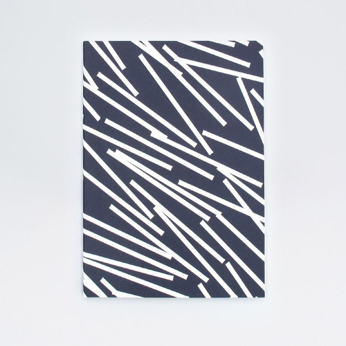 A5 Ruled Layflat Notebook - Lines Print, Navy by Ola at Of Cabbages and Kings