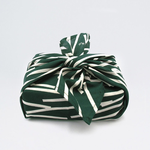 Organic Cotton Wrap - Lines, Forest Green wrapped up by Ola at Of Cabbages and Kings