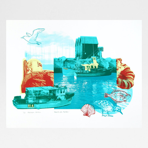 Whitstable Harbour screen print by Melissa North at Of Cabbages and Kings