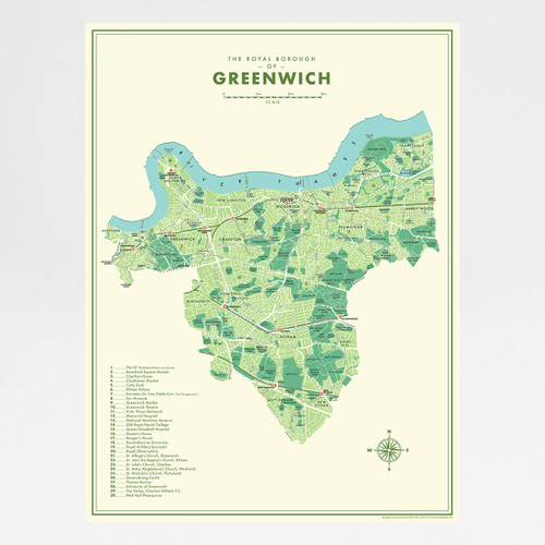 Greenwich Retro Map Print by Mike Hall at Of Cabbages and Kings.