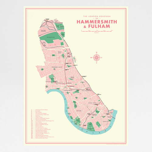 Hammersmith and Fulham Retro Map Print by Mike Hall at Of Cabbages and Kings.