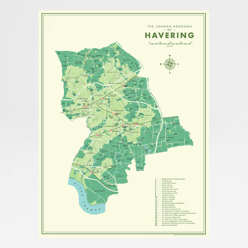 Havering Retro Map Print by Mike Hall at Of Cabbages and Kings.
