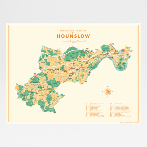 Hounslow Retro Map Print by Mike Hall at Of Cabbages and Kings.