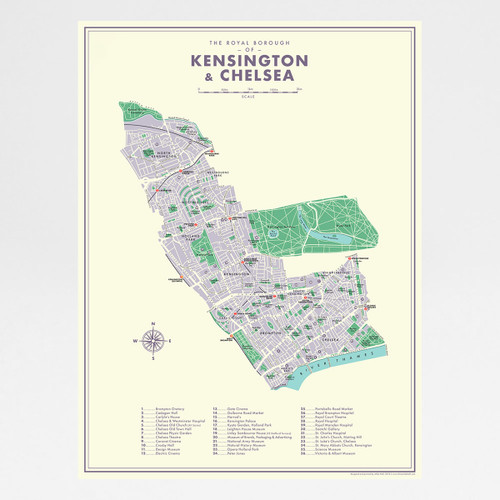 Kensington and Chelsea Retro Map Print by Mike Hall at Of Cabbages and Kings.