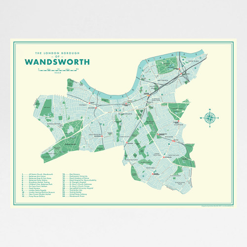 Wandsworth Retro Map Print by Mike Hall at Of Cabbages and Kings.