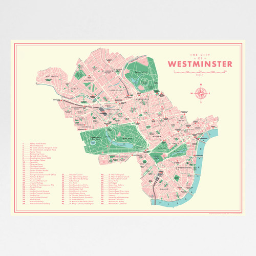 Westminster Retro Map Print by Mike Hall at Of Cabbages and Kings.