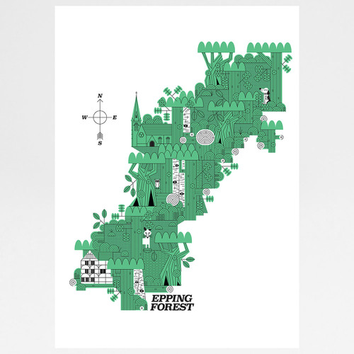 Epping Forest Map art print by John Devolle at Of Cabbages and Kings
