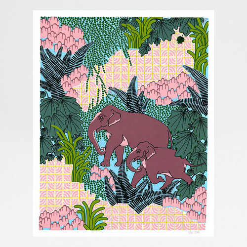Jungle Elephant screen print by Claudia Borfiga available at Of Cabbages & Kings.