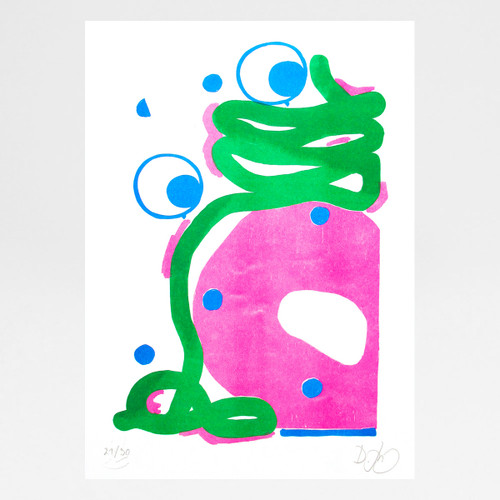Doc Dunkin risograph print by David Luepschen at Of Cabbages and Kings.