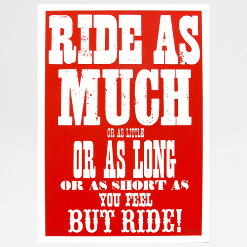Ride (red) screen print by Dynamo works at Of Cabbages and Kings