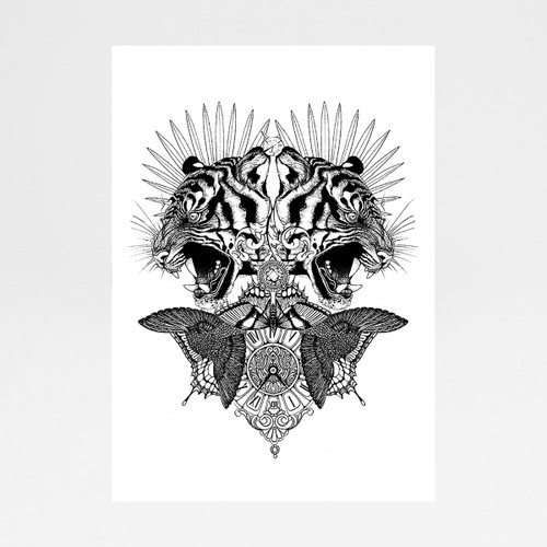 Baroque Tiger art print by Emily Carter at Of Cabbages and Kings.
