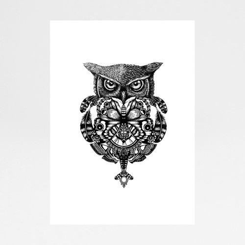 Owl And Pocket Watch art print by Emily Carter at Of Cabbages and Kings