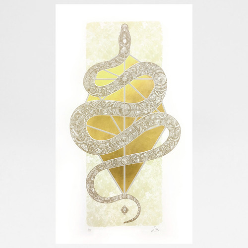 The Diamond Headed Serpent screen print by Fiftyseven Design available at Of Cabbages and Kings.