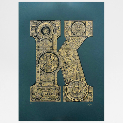 Illustrated K screen print by Fiftyseven Design at Of Cabbages and Kings