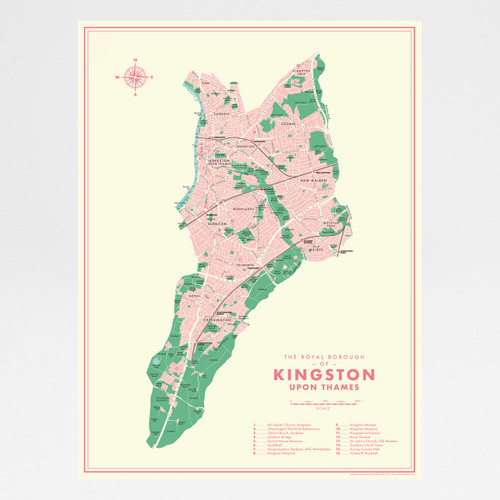 Kingston Upon Thames Retro Map Print by Mike Hall at Of Cabbages and Kings.