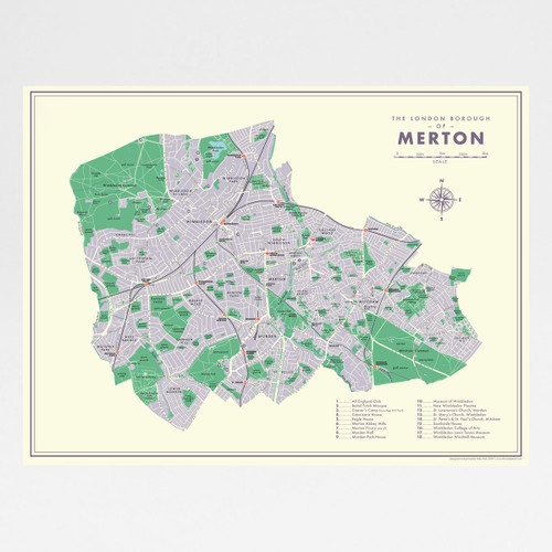 Merton Retro Map Print by Mike Hall at Of Cabbages and Kings.