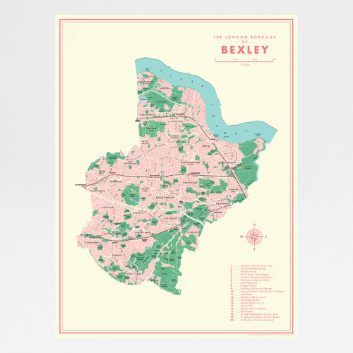 Bexley Retro Map Print by Mike Hall at Of Cabbages and Kings.
