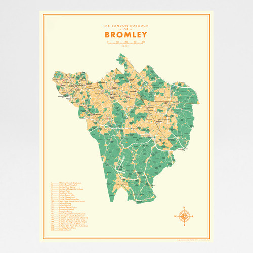 Bromley Retro Map Print by Mike Hall at Of Cabbages and Kings.
