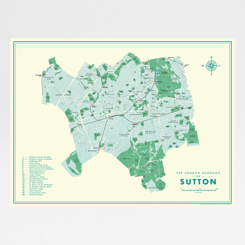 Sutton Retro Map Print by Mike Hall at Of Cabbages and Kings.