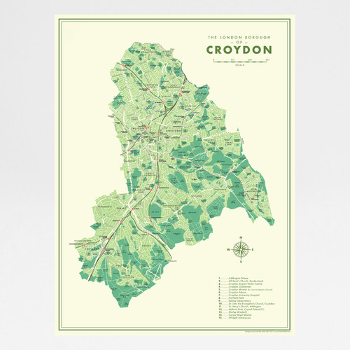 Croydon Retro Map Print by Mike Hall at Of Cabbages and Kings.