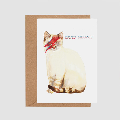David Meowie Card by Mister Peebles at Of Cabbages and Kings