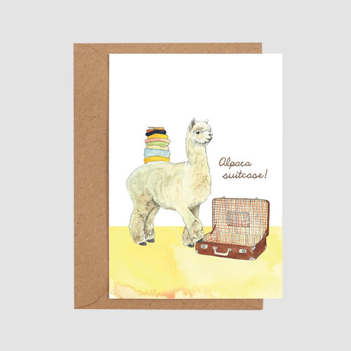 Alpaca Suitcase Card by Mister Peebles at Of Cabbages and Kings