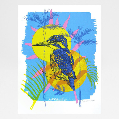 Common Kingfisher screen print by Melissa North at Of Cabbages and Kings