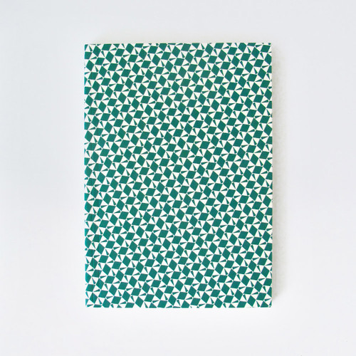 A5 Plain Layflat Notebook - Victor Print, Green by Ola at Of Cabbages and Kings