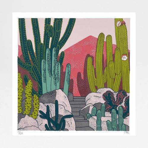 Cactus Garden print by Claudia Borfiga at Of Cabbages and Kings