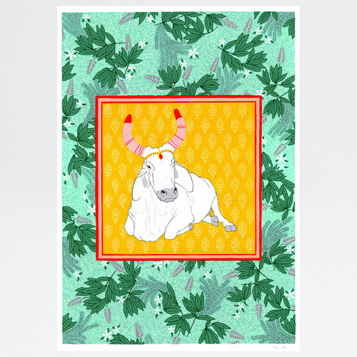 Jungle Cow screen print by Claudia Borfiga available at Of Cabbages and Kings.