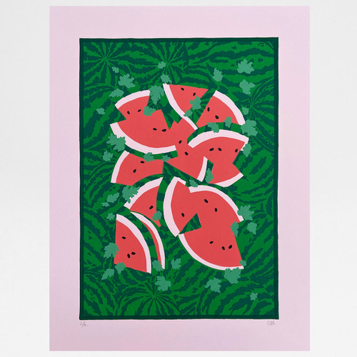 Watermelon Camo print by Claudia Borfiga at Of Cabbages and Kings