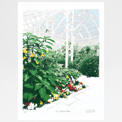 The Temperate House, Kew Gardens screen print (red and yellow edition) by Will Clarke at Of Cabbages and Kings