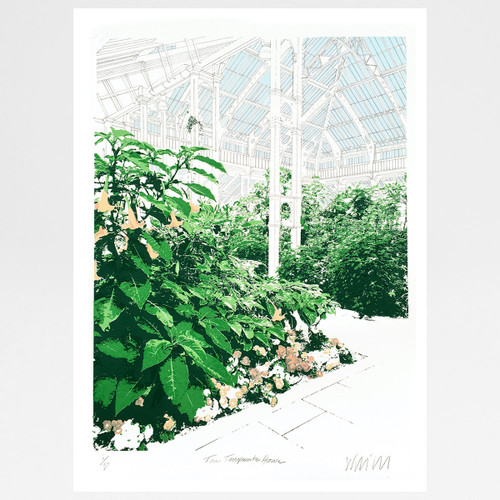 The Temperate House, Kew Gardens screen print (pinks edition) by Will Clarke at Of Cabbages and Kings