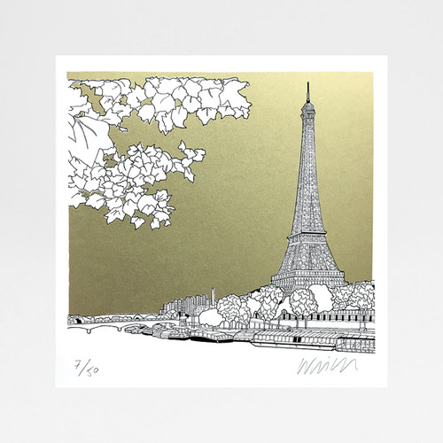 Paris, France - Gold (square) screen print by Will Clarke at Of Cabbage and Kings