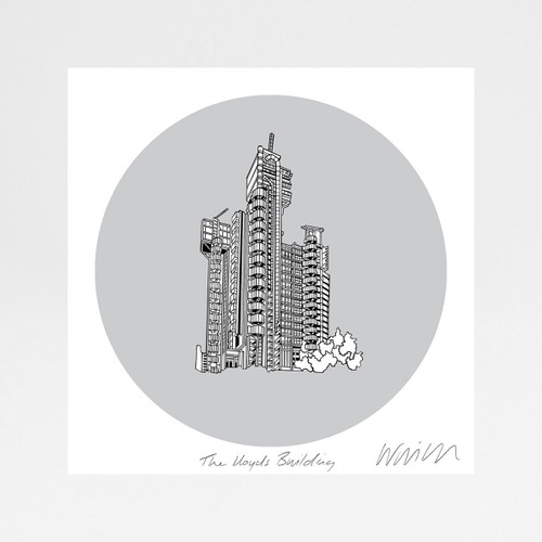 Lloyds of London Building screen print by Will Clarke at Of Cabbage and Kings