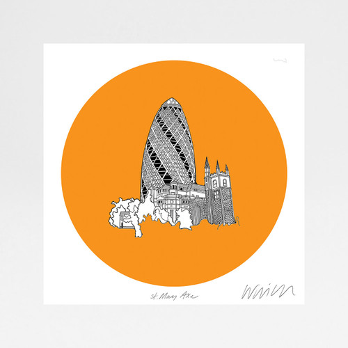 St Mary Axe Building (The Gherkin) screen print by Will Clarke at Of Cabbage and Kings