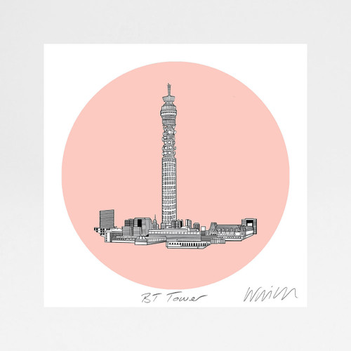 BT Tower screen print by Will Clarke at Of Cabbage and Kings